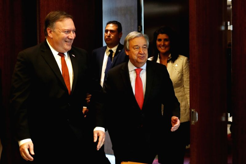 UNITED NATIONS, July 20, 2018 - United Nations Secretary-General Antonio Guterres (R, front) meets with U.S. Secretary of State Mike Pompeo (1st L), at the UN headquarters in New York, July 20, 2018.