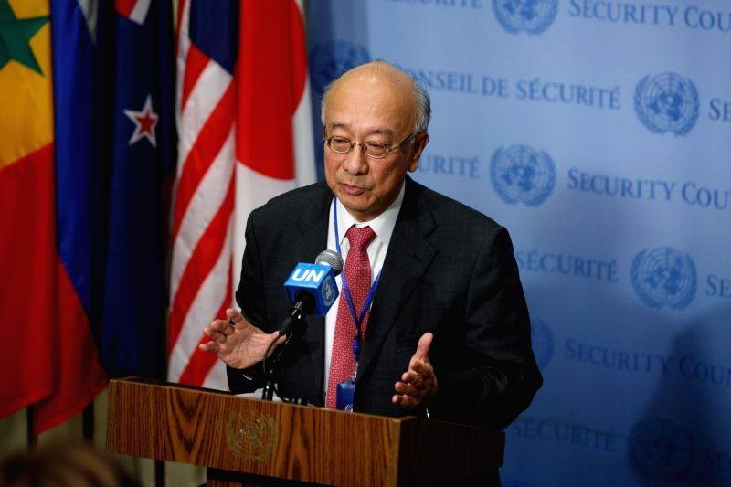 UNITED NATIONS, July 21, 2016 - Koro Bossho, Japanese ambassador to the United Nations and this month's president of the Security Council, speaks to the press at the UN headquarters in New York, July ...