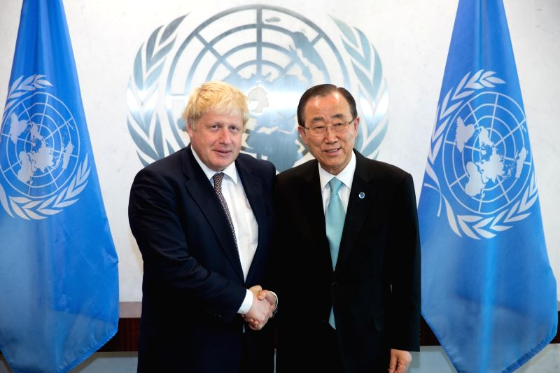 UNITED NATIONS, July 22, 2016 - British Foreign Secretary Boris Johnson(L) meets with United Nations Secretary-General Ban Ki-moon at the UN headquarters in New York, July 22, 2016.