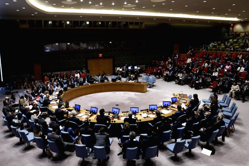 UNITED NATIONS, July 24, 2018 - Photo taken on July 24, 2018 shows a general view of a United Nations Security Council meeting at the UN headquarters in New York, July 24, 2018. UN Special ...