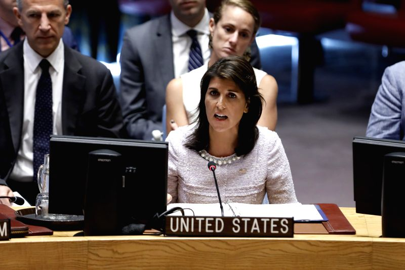 UNITED NATIONS, July 24, 2018 - U.S. Ambassador to the United Nations Nikki Haley (front) briefs the UN Security Council during a meeting at the UN headquarters in New York, July 24, 2018. UN Special ...