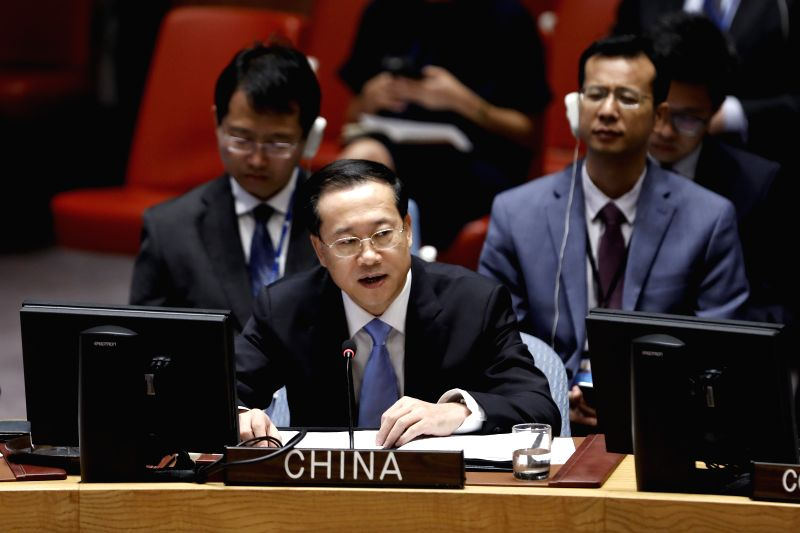 UNITED NATIONS, July 25, 2018 - Chinese permanent representative to the United Nations Ma Zhaoxu speaks at the UN Security Council's open debate on the Middle East situation at UN headquaters in New ...
