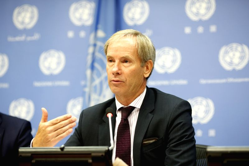 UNITED NATIONS, July 31, 2018 - Swedish Ambassador to the United Nations Olof Skoog, whose country is winding up its presidency of the Security Council, speaks at a media briefing at the UN ... - Abiy Ahmed