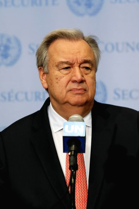 UNITED NATIONS, June 11, 2018 - United Nations Secretary-General Antonio Guterres attends a press encounter at the UN headquarters in New York, on June 11, 2018. UN Secretary-General Antonio Guterres ...