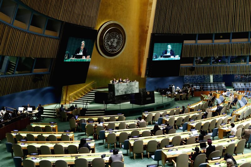 UNITED NATIONS, June 12, 2018 - United Nations Secretary-General Antonio Guterres makes remarks on the Implementation of the Declaration of Commitment on HIV/AIDS and the political declarations on ...