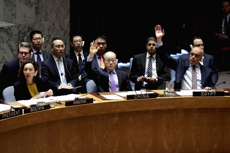 UNITED NATIONS, June 2, 2017 - China's permanent representative to the United Nations Liu Jieyi (C, Front) votes in favor of a UN Security Council's resolution on the Democratic People's Republic of ...