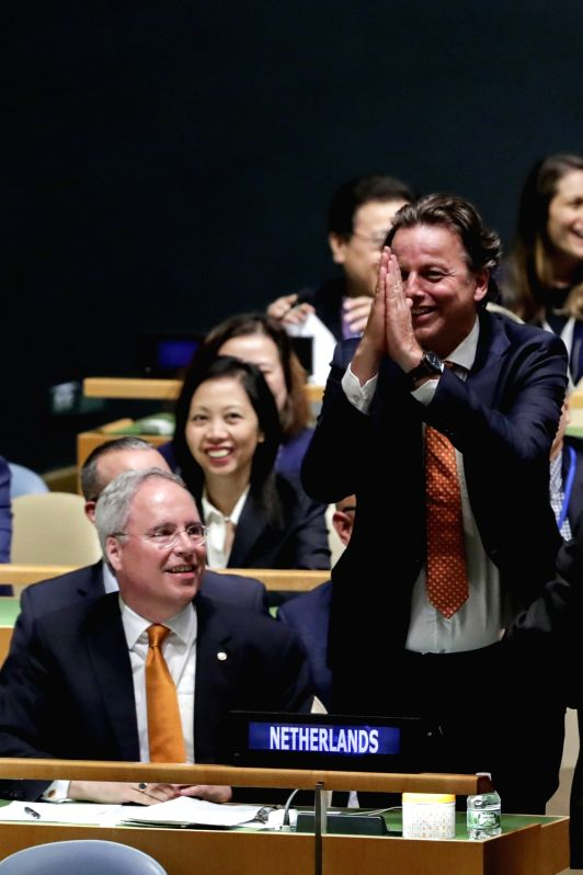 UNITED NATIONS, June 2, 2017 - Dutch Foreign Minister Bert Koenders (R, Front) gestures after the Netherlands was elected as a non-permanent member to the UN Security Council for one year starting ... - Bert Koenders