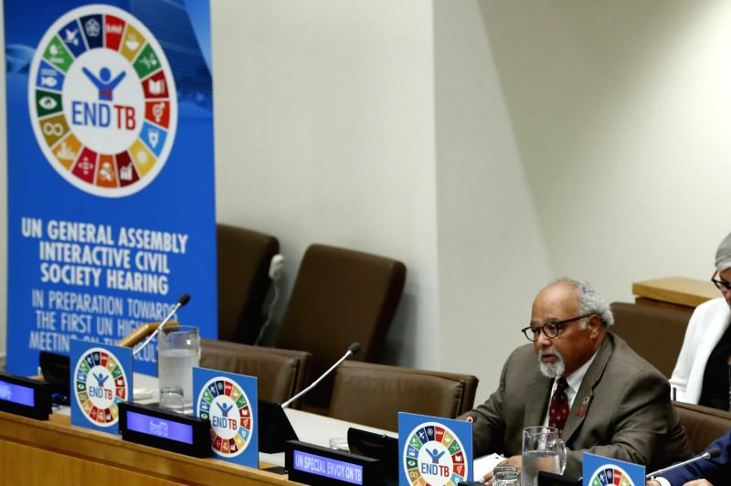 UNITED NATIONS, June 4, 2018 - United Nations Special Envoy on Tuberculosis Eric Goosby addresses a civil society hearing on tuberculosis at the United Nations headquarters in New York, on June 4, ...