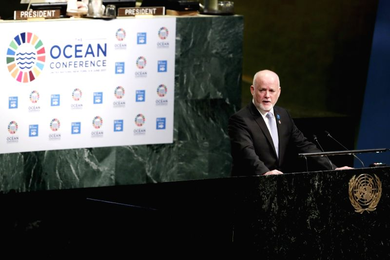 UNITED NATIONS, June 5, 2017 - Peter Thomson, President of the 71st session of the United Nations General Assembly, addresses the Ocean Conference at the United Nations headquarters in New York, on ...