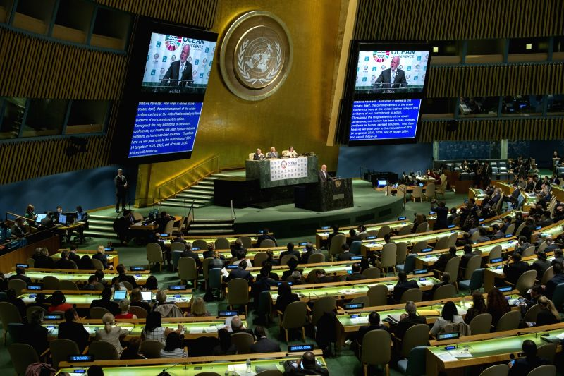 UNITED NATIONS, June 5, 2017 - Photo taken on June 5, 2017 shows the Ocean Conference at the United Nations headquarters in New York. Representatives from some 85 countries attended the five-day ...
