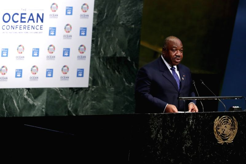 UNITED NATIONS, June 5, 2017 - President of the Republic of Gabon Ali Bongo Ondimba addresses the Ocean Conference at the United Nations headquarters in New York, on June 5, 2017. Representatives ...
