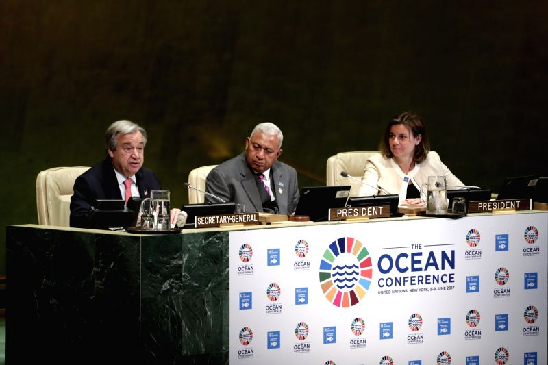 UNITED NATIONS, June 5, 2017 - United Nations Secretary-General Antonio Guterres (L) addresses the Ocean Conference at the United Nations headquarters in New York, on June 5, 2017. Representatives ...