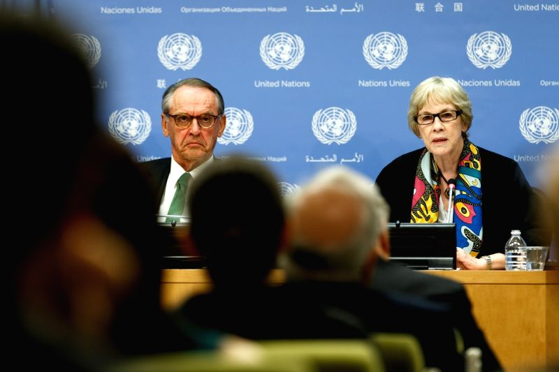 UNITED NATIONS, May 10, 2016 - Karen AbuZayd (R), Special Adviser on the Summit on Addressing Large Movements of Refugees and Migrants, briefs journalists with Jan Eliasson, United Nations Deputy ...