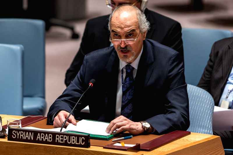 UNITED NATIONS, May 12, 2016 - Bashar Ja'afari, Syria's Permanent Representative to the United Nations, addresses a Security Council meeting on threats to international peace and security caused by ...