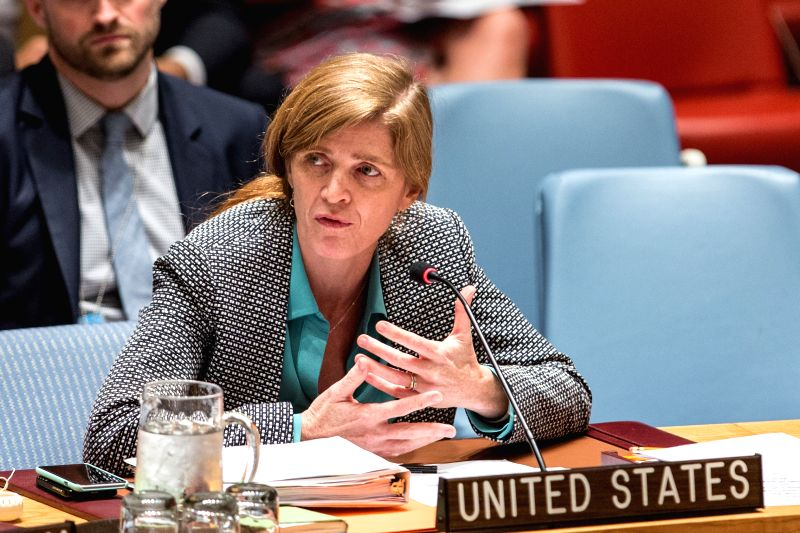 UNITED NATIONS, May 12, 2016 - Samantha Power, U.S. Permanent Representative to the United Nations, addresses a Security Council meeting on threats to international peace and security caused by ...
