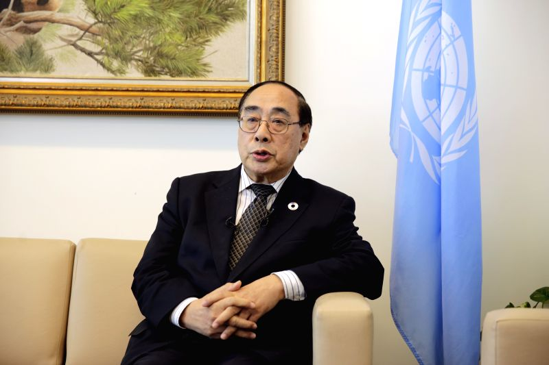 UNITED NATIONS, May 4, 2017 - Wu Hongbo, UN under-secretary-general for economic and social affairs, speaks during a joint interview with Chinese media at the UN headquarters in New York, May 3, ...