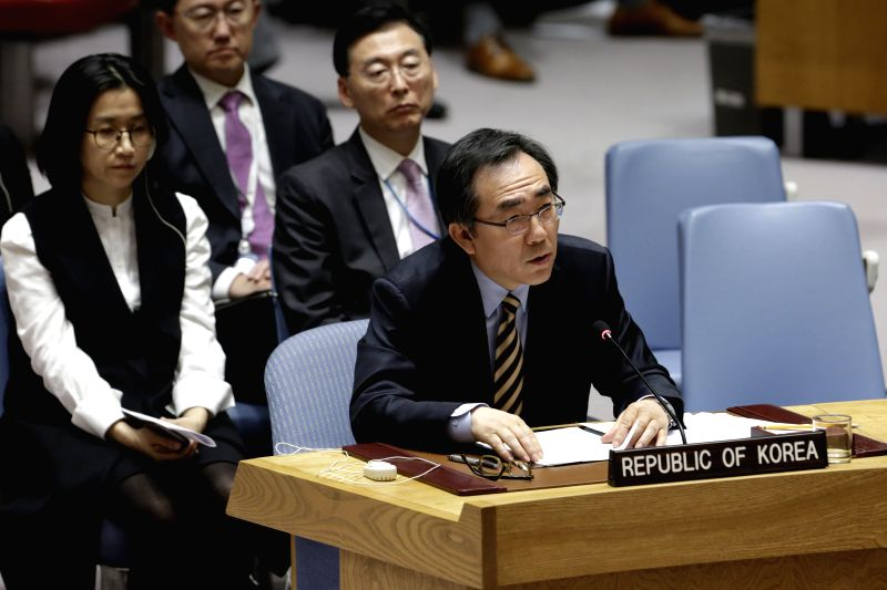 UNITED NATIONS, Nov. 30, 2017 - South Korean ambassador to the United Nations Cho Tae-yul addresses a Security Council urgent meeting on the Tuesday's missile launch by the Democratic People's ...