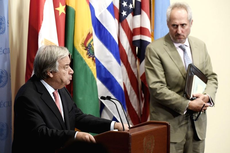 United Nations Secretary-General Antonio Guterres, left, with his Spokesperson Stephane Dujarric.