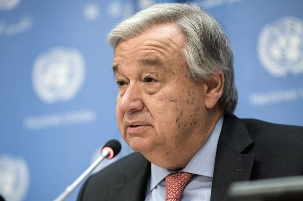 United Nations Secretary-General Antonio Guterres speaks at a news conference on Thursday, July 12, 2018, at the UN headquarters in New York.