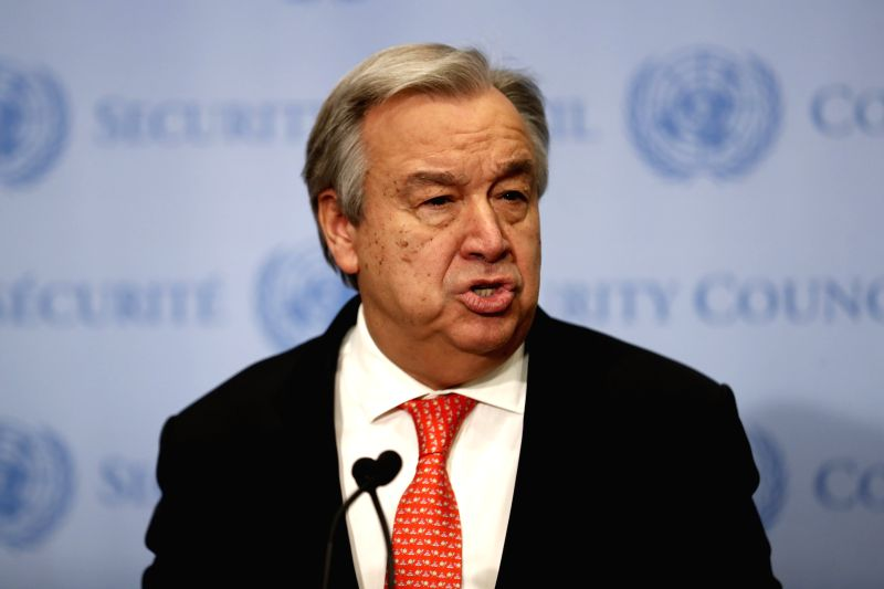 : United Nations Secretary-General Antonio Guterres speaks during a brief statement to reporters at the UN headquarters in New York, on Feb. 2, 2018. UN ...