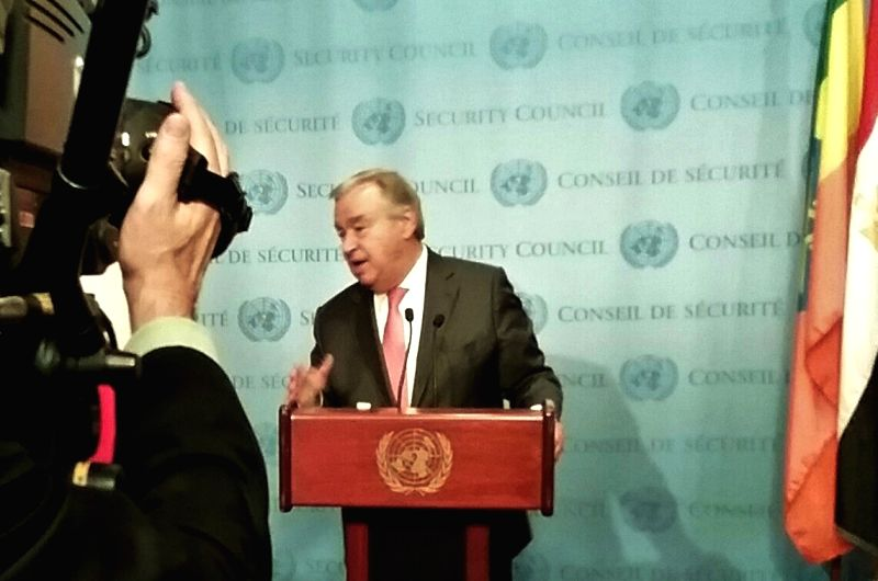 United Nations Secretary-General Antonio Guterres speaks to the media at the UN headquarters in New York on Wednesday, Oct. 4, 2017, about the impact of climate change and appeals for aid to island ...