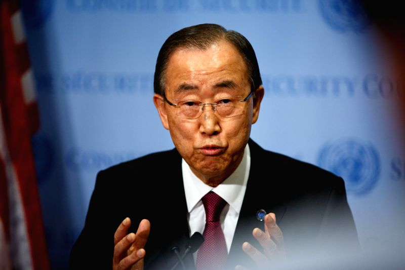 United Nations Secretary General Ban Ki-moon speaks to journalists at the UN headquarters in New York, Dec. 3, 2015. Ban Ki-moon on Thursday in New York called for ...