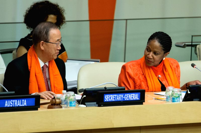 United Nations Secretary-General Ban Ki-moon(L) and UN Women Executive Director Phumzile Mlambo-Ngcuka attend an event in observance of the International Day for ...
