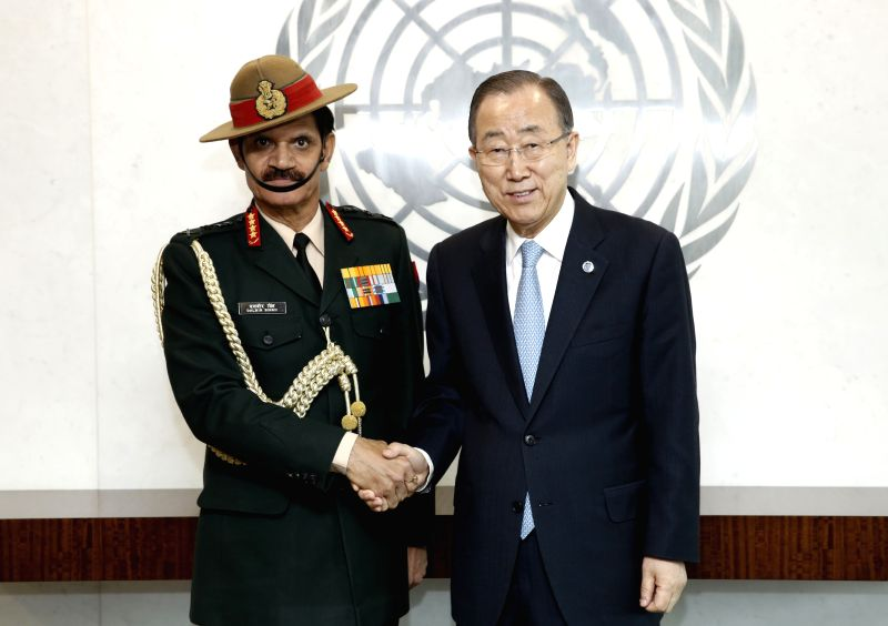 United Nations Secretary General Ban Ki-moon met General Dalbir Singh, the Indian Chief of Army Staff, Monday, April 4, 2016, at the UN headquarters in New York. (Credit: United Nations/IANS) - Dalbir Singh