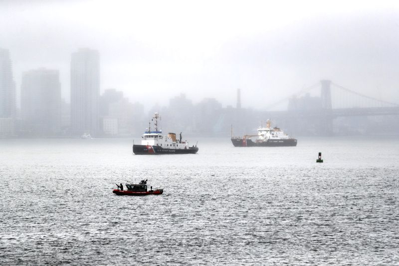 UNITED NATIONS, Sept. 18, 2017 - A U.S. Coast Guard boat patrols on the East River of New York City, the United States, Sept. 18, 2017. Security has been ramped up outside and within UN headquarters ...