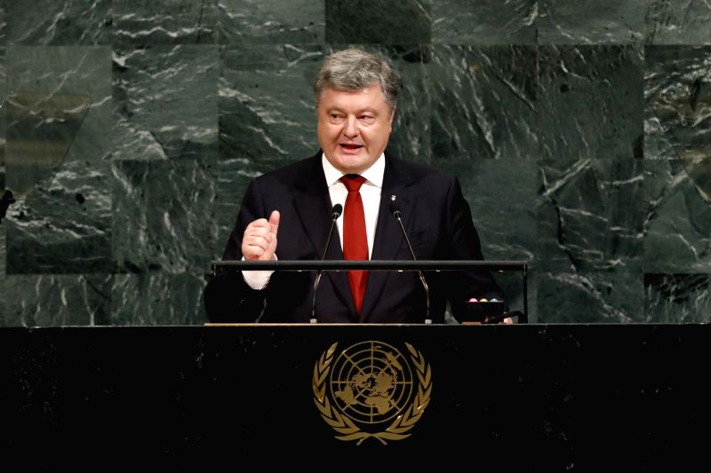 UNITED NATIONS, Sept. 20, 2017 - Ukrainian President Petro Poroshenko addresses the 72nd session of United Nations General Assembly on the second day of the general debate at the UN headquarters in ...