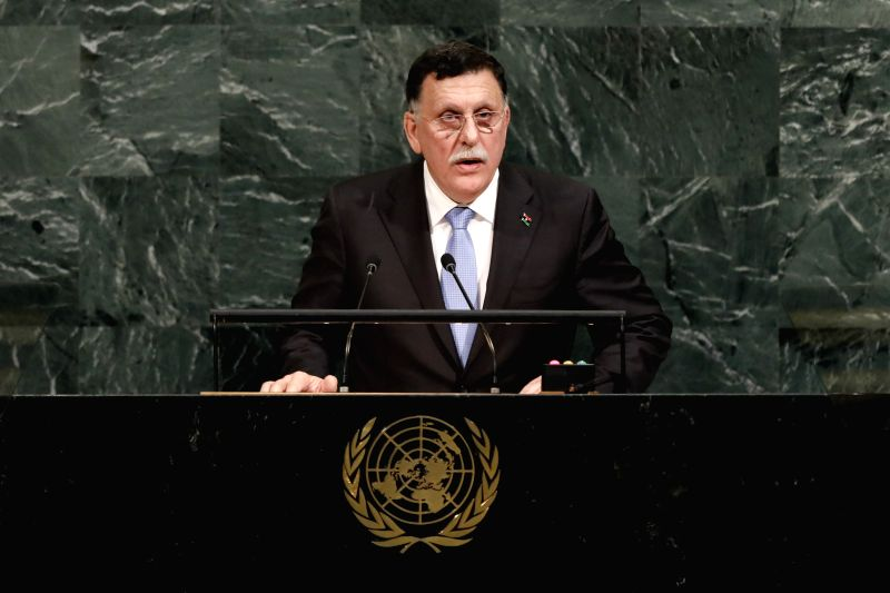 UNITED NATIONS, Sept. 21, 2017 - Fayez al-Sarraj, the head of Libya's UN-backed government, addresses the 72nd session of United Nations General Assembly on the second day of the general debate at ...