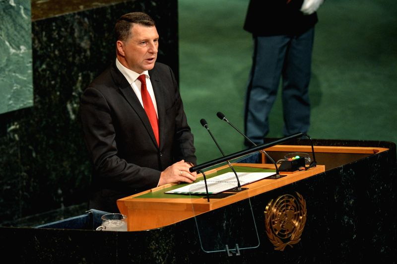 UNITED NATIONS, Sept. 21, 2017 - Latvian President Raimonds Vejonis addresses the 72nd session of United Nations General Assembly on the second day of the general debate at the UN headquarters in New ...