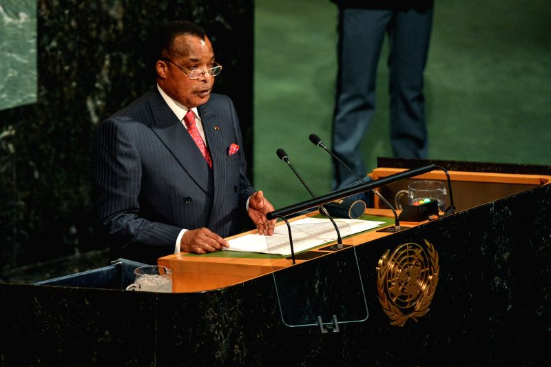 UNITED NATIONS, Sept. 21, 2017 - Republic of Congo's President Denis Sassou Nguesso addresses the 72nd session of United Nations General Assembly on the second day of the general debate at the UN ...