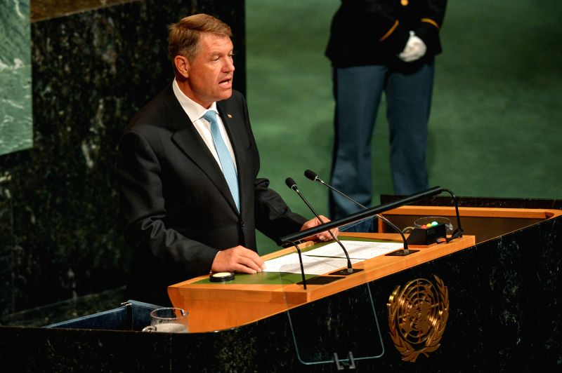 UNITED NATIONS, Sept. 21, 2017 - Romanian President Klaus Iohannis addresses the 72nd session of United Nations General Assembly on the second day of the general debate at the UN headquarters in New ...