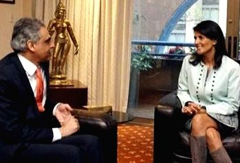 United States Ambassador to the United Nations, Nikki Haley, met India\'s UN Permanent Representative Syed Akbaruddin at the Indian Mission in New York on Wednesday, April 26, 2017. The US Permanent ...
