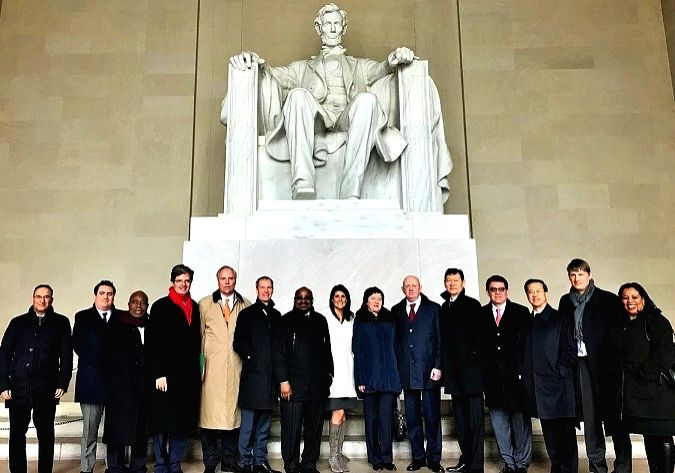 United States Permanent Representative to the United Nations, Nikki Haley, center, with the members of the Security Council at the Lincoln Memorial in Washington on Monday, January 29, 2018. During ...
