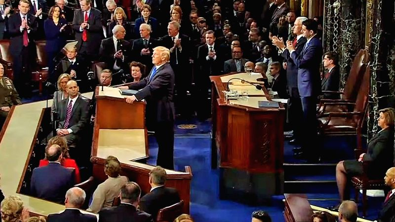 United States President Donald Trump delivers the annual State of the Union address to the Congress in Washington on Tuesday, Jan 31, 2018.