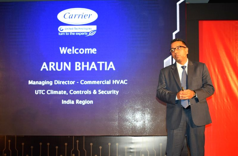 United Technologies -Climate, Controls and Security (UTC) India MD Arun Bhatia addresses at the launch of Toshiba Air Conditioners, in New Delhi on July 12, 2018.