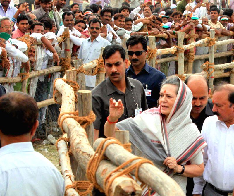 UPA Chairperson Sonia Gandhi during a rally in Raebareli on April 19, 2014.