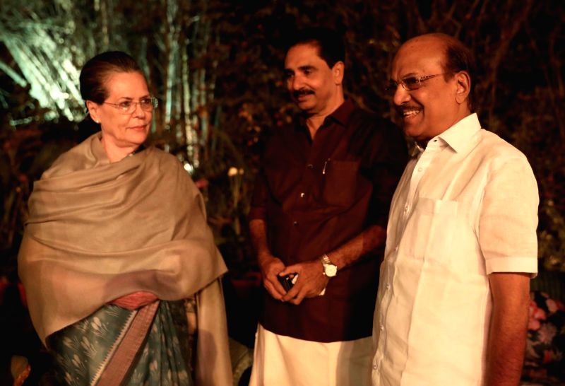 UPA Chairperson Sonia Gandhi with P. K. Kunhalikutty and Revolutionary Socialist Party's N. K. Premachandran during a dinner hosted by her at her residence in New Delhi on March 13, 2018. - Sonia Gandhi