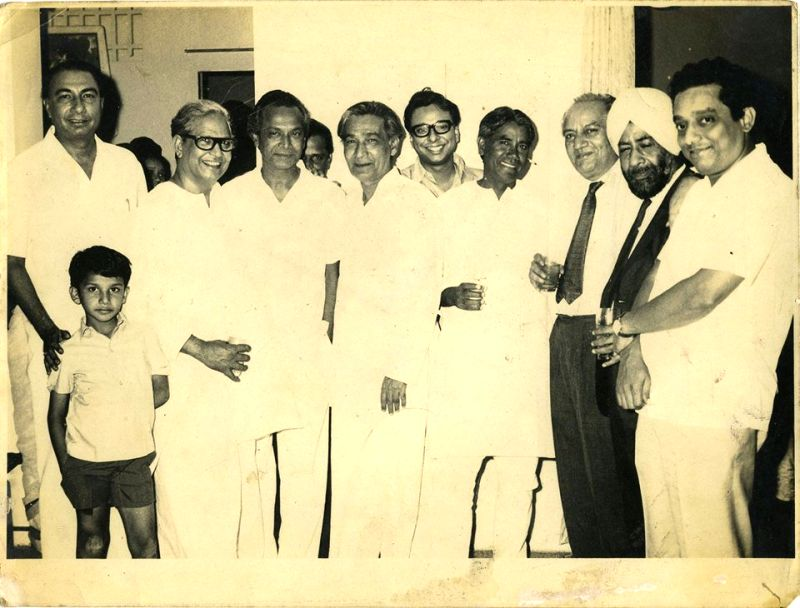 Urdu poet Majrooh Sultanpuri (second from left) flanked by colleagues Sahir Ludhianvi (first on left), composer Naushad (third from left),  and Faiz Ahmed Faiz (third from right)