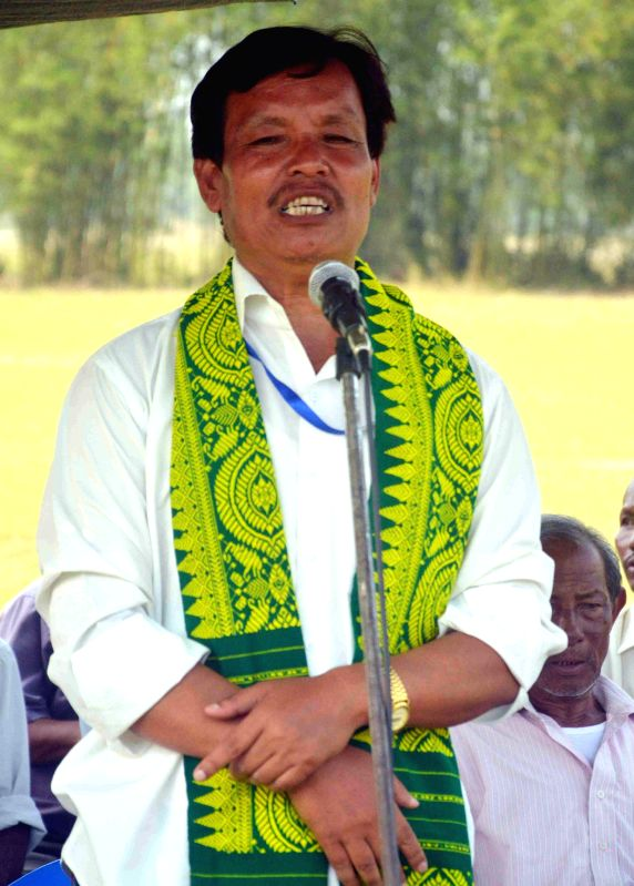 Urkhao Gwra Brahma independent candidate from Kokrajhar during an election campaign in Kokrajhar of Assam on April 20, 2014.