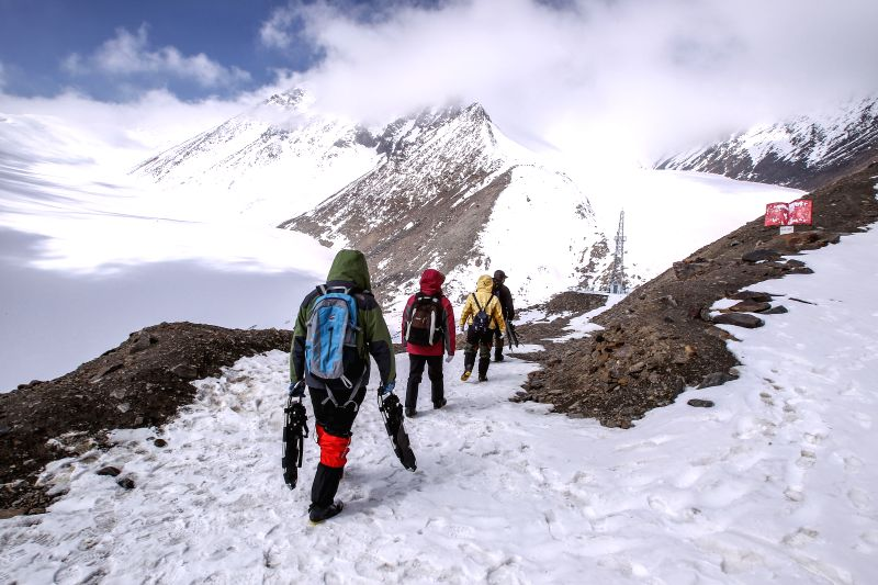 URUMQI, April 30, 2017 - Scientists from Northwest Institute of Eco-Environment and Resources, China Academy of Sciences (CAS), work at Urumqi River source Glacier No.1 in Tianshan Mountains, ...