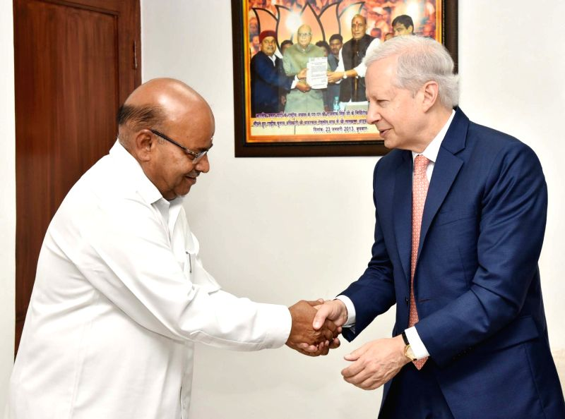 US Ambassador Kenneth I. Juster meets Union Minister of Social Justice and Empowerment Thawar Chand Gehlot, in New Delhi, on July 27, 2018.