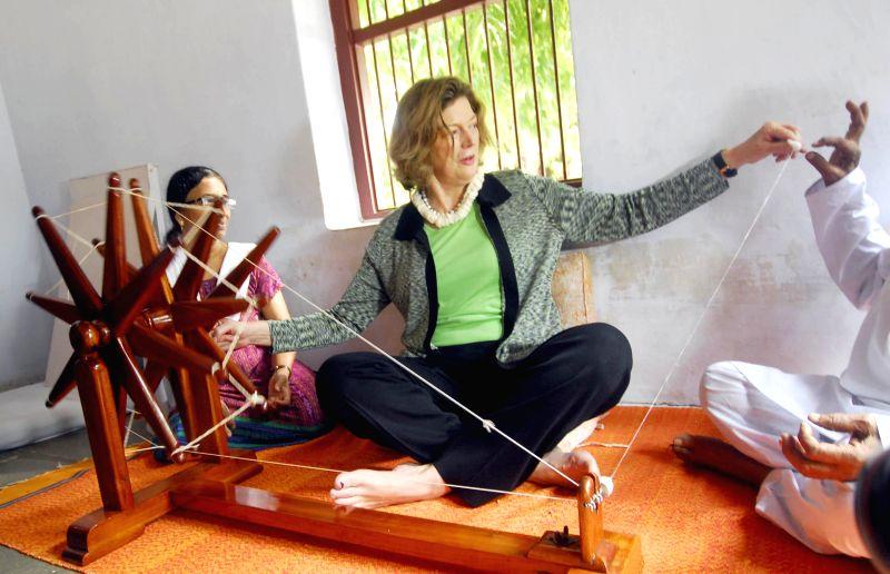 US Ambassador to India, Kathleen Stephens during her visit to Gandhi Ashram in Ahmedabad on Aug 21, 2014.
