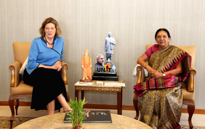 US Ambassador to India, Kathleen Stephens during a meeting with Gujarat Chief Minister Anandiben Patel in Gandhinagar on Aug 20, 2014. - Anandiben Patel