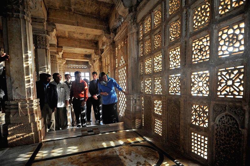 US Ambassador to India, Kathleen Stephens visits Sarkhej Roza, a mosque Makraba village, 7 km south-west of Ahmedabad on Aug 20, 2014.