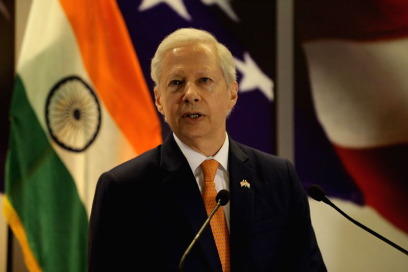 US Ambassador to India Kenneth I. Juster addresses during the 242nd anniversary celebrations of the Independence of the United States of America; in New Delhi on Aug 2, 2018.