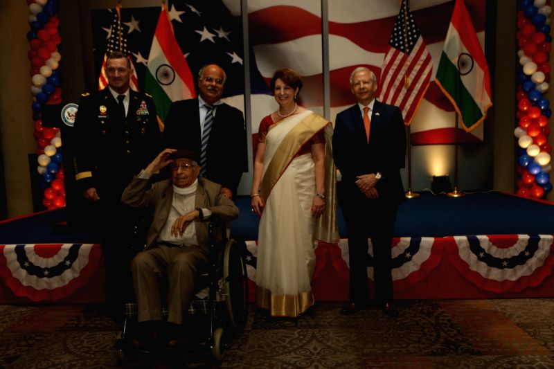 US Ambassador to India Kenneth I. Juster, Deputy Chief of Mission MaryKay L. Carlson and Defense Attache David E. Brigham with other dignitaries during the 242nd anniversary celebrations ...