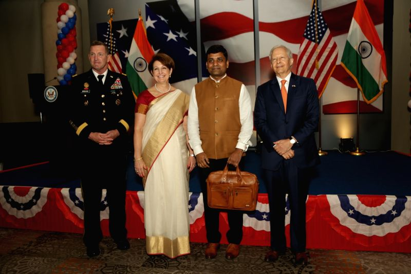 US Ambassador to India Kenneth I. Juster, Deputy Chief of Mission MaryKay L. Carlson and Defense Attache David E. Brigham during the 242nd anniversary celebrations of the Independence of ...